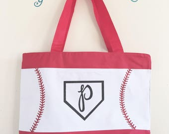 Baseball Initials Letter Mom Bag tote Momlife Softball Sports Mom MomBoss Babe vacation game gift bride purse diaper baby beach trip satchel