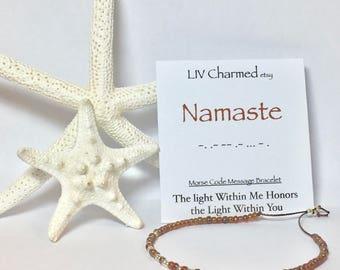 Secret Message Morse Code Bracelet. NAMASTE Morse Code Bracelet. Secret Message Bracelet. Morse Code Jewelry