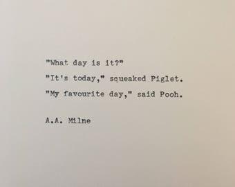 Winnie the Pooh quote hand typed on antique typewriter valentines scrapbooking