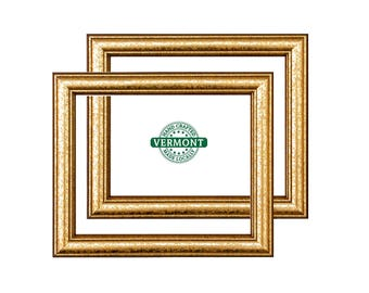"""Set of 2 - 8x10 Weathered Gold Picture Frames, Gold Wood Photo Frame, 8 in x 10 in Gold Frame Set, 8"""" x 10"""" Gold Frame, 8x10 Picture Frame"""