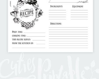 Recipe Card Shower Kitchen Editable PDF - Instant Download Recipe A4 and 4x6'' black & white