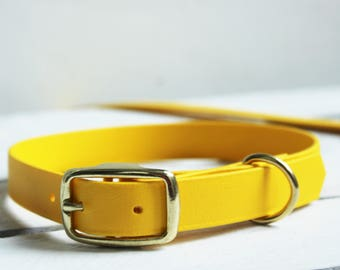 Dog Collar Yellow Biothane Dog Collar. Leather look sunshine yellow waterproof dog collar. Matching lead available separately