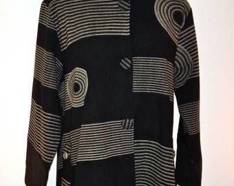 Long Cotton Jacket W/Geometric Print - SP15-5029