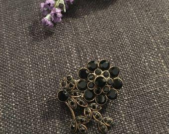 Vintage Flower Brooch with Black Stones