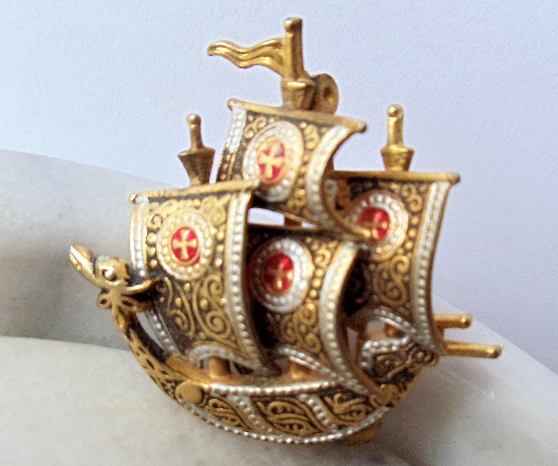 vintage damascene sail boat pin brooch spanish armada cross