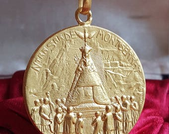 Spanish Blessed Virgin Mary 18K Gold Plated Medal Montserrat Art Nouveau Medal Blessed Mother Mary Catholic Jewelry Religious Jewelry