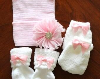 Infant newborn baby girl pink striped hat - cap hospital beanie set crystal center socks mittens