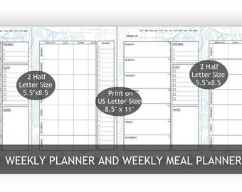 "Blue Two 5.5""x 8.5""/One Big Happy Planner, 2-in-1 Weekly and Weekly meal Planners,2 Layouts,mandala 22-Blue background, Weekly Meal Schedule"