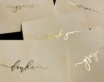 Gold Foil International Thank You Card Set