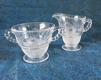 Vintage Depression Glass Etched Floral Dewdrop Sugar Bowl And Creamer with Stippled Base