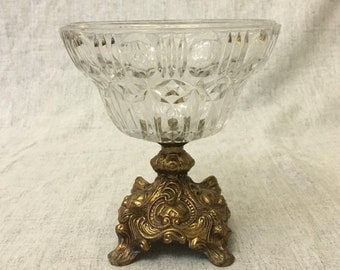 Vintage Hollywood Regency Gold Tone Metal and Pressed Glass Compote