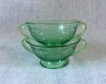 Vintage Fostoria Versailles Green Bouillon or Cream Soup Bowls, Green Depression Glass, Set of 2