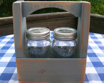 Caddy with Handles - Carpenter's Box, Mason Jar Holder - Rustic Blue, Distressed Centerpiece, Gift Box