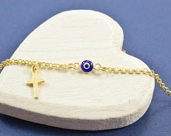 Greek Evil Eye Bracelet, Tiny Evil Eve Bracelet, Evil Eye Bracelet Gold, Evil Eye Jewelry, Evil Eye Cross Bracelet