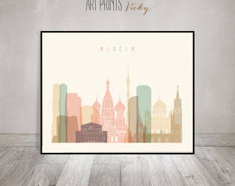 Moscow print, Poster, Wall art, Russia cityscape, Moscow skyline, City poster, Typography art, Home Decor, Digital Print, ArtPrintsVicky