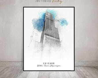 Chicago Willis Tower Skyscraper Poster Contemporary Art Print   ArtPrintsVicky.com