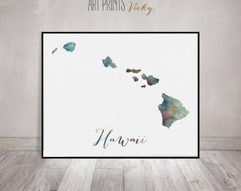 Hawaii map print, poster, Watercolor map, Wall art, Hawaii state, U.S state print, fine art, watercolor print, travel poster, ArtPrintsVicky