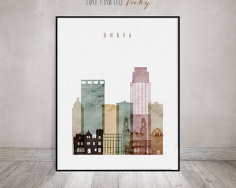 Omaha skyline, Omaha art print, watercolor poster, Travel poster, Housewarming gift, Wall art, Travel Gift, Home Decor, ArtPrintsVicky