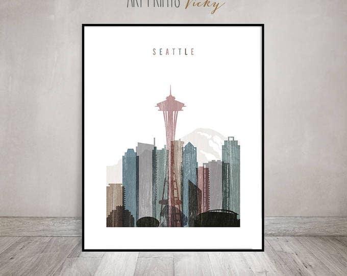 Seattle art print, Seattle skyline art, poster, distressed art, Travel wall art, City prints, Home Decor, Wall decor, Gift, ArtPrintsVicky