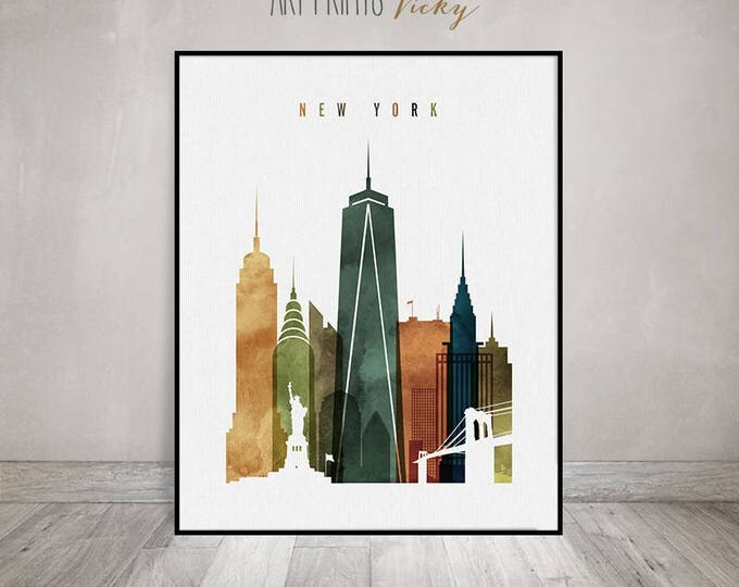New York art print, New York skyline wall art, New York watercolor poster, travel decor, housewarming gift, wall decor, ArtPrintsVicky