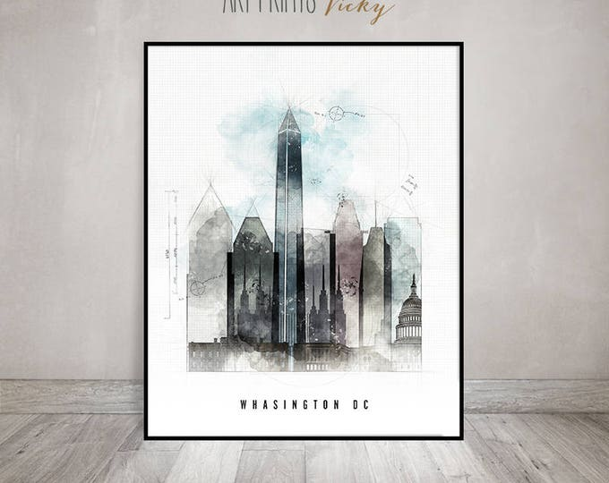 Wall art, Washington DC print, Washington skyline, Travel print, contemporary art, mixed media, digital hand drawn by ArtPrintsVicky
