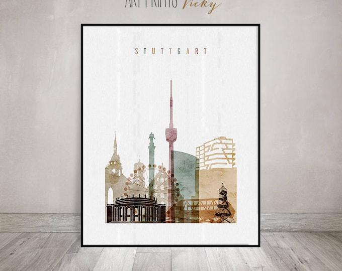 Stuttgart print,  Stuttgart skyline art poster, Watercolor Wall art, housewarming gift, Travel decor, Germany cityscape, ArtPrintsVicky