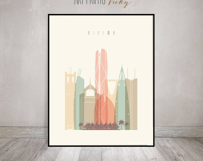 Riyadh wall art print, Riyadh skyline poster, Travel gift, Saudi Arabia cityscape, wall decor, housewarming gift, ArtPrintsVicky