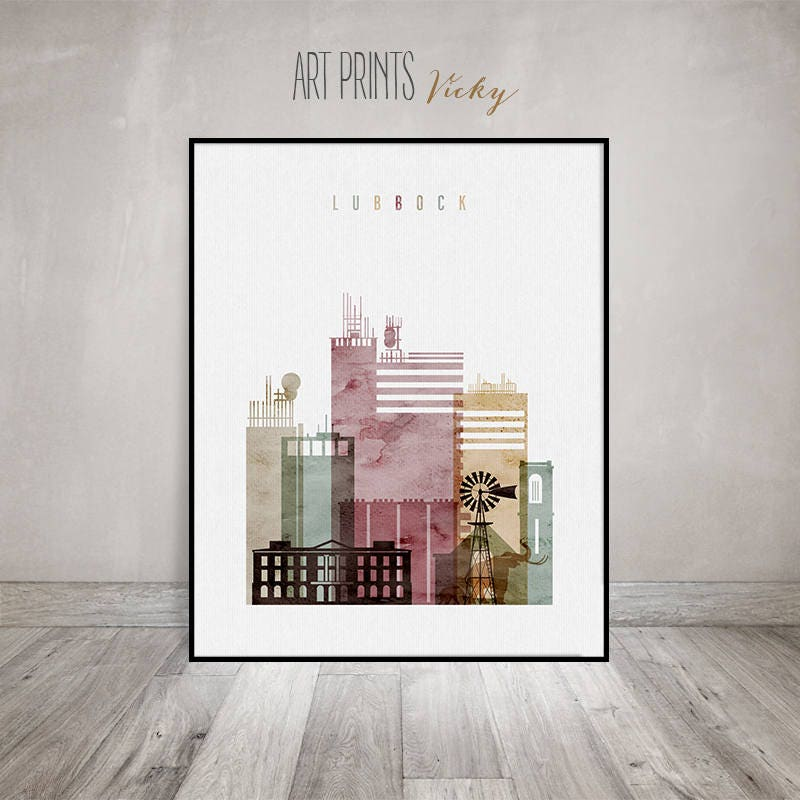 home decor lubbock tx. Lubbock skyline art print  Watercolour Poster Wall Travel decor Texas City poster Typography Home Decor ArtPrintsVicky