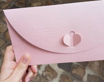 Pince à gaufrer Compacte adresse Anaïs & Maxime personnalisé, tampon à embosser, empreinte à relief pour marquer le dos de vos enveloppes