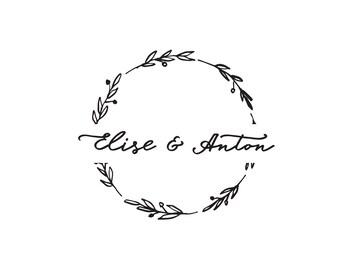Tampon mariage Elise & Anton couronne de fleurs sur mesure, tampon rond, tampon personnalisé,tampon vintage bois pour vos cadeaux de mariage