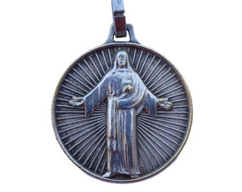 Sacred Heart of Jesus -  French Vintage Religious  Medal  Pendant Charm