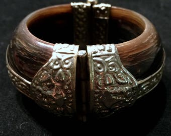 Vintage 80's Indian Wood and Patterned Silver Metal Cuff Bracelet • Hinged with Pin Closure • Half Inch Thick • Hippie Boho Style
