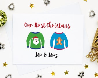 Mr & Mrs first Christmas card, First Christmas together, our first Christmas, card for husband, card for wife, 1st xmas, unisex card