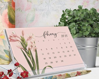 2018 desk calendar - 2018 cd calendar - botanical art illustrations - victorian flowers calendar - gift for her - free shipping to U.S.