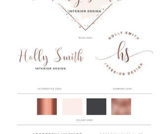Watercolor logo, Logo design, logo, Branding package, Mini branding kit, Rose gold logo, Watermark Logo, Photography Logo,
