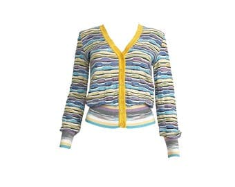 MISSONI Vintage Stripe Knit Cardigan Top Button Front Zigzag Woven Jacket Blouse