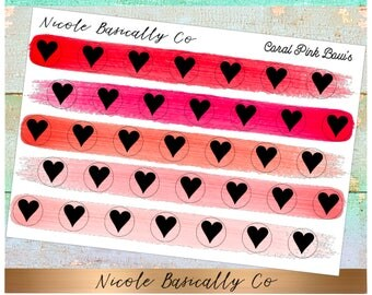 Heart Icons in Coral Pink Paint Stroke Colors- Planner Stickers