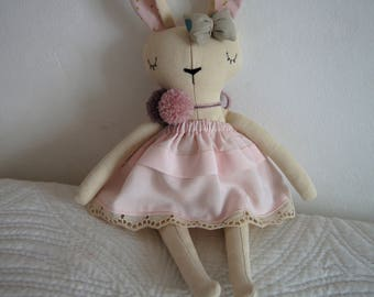 Rabbit Handmade Doll, stuffed toy, plush rabbit, stuffed animal, cloth doll, Doll Fabric rabbit, Linen Dolls,decorative toy, baby gift
