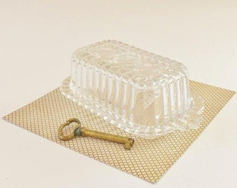 Molded Glass Small Butter Dish - 6 Inch Clear Butter Dish with Art Deco Look - Holds Half Stick of Butter or a Holiday Herbed Cheese
