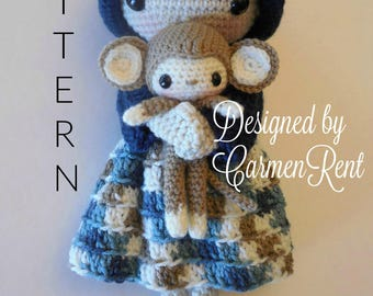 October and her Monkey- Amigurumi Doll Crochet Pattern PDF