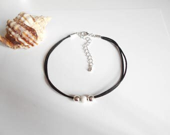 Black Pearl anklet white
