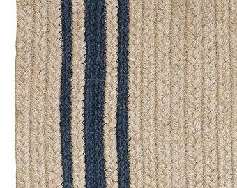 Farmhouse Blue Strip Jute Braided Rug