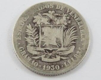 Venezuela 1930 Silver 2 Bolivares Coin.