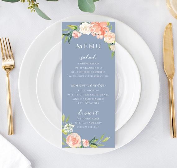 Printable Wedding Menu Template Reception