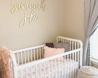 First and Middle name sign / crib name sign, laser cut name sign, baby name sign, backdrop sign, birthday name sign, nursery room decor