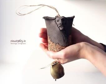 Sardinian Mamuthones medium wind chime ceramic sculpture