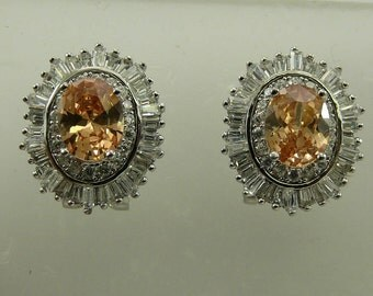 Citrine Earring with Cubic Zirconia Sterling Silver Omega Backs