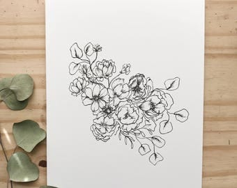Floral Illustration 001 | An Introduction | astrantia, garden rose, eucalyptus, carnation, cosmos, anemone