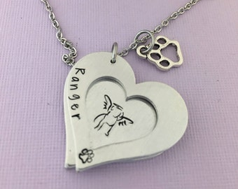 Dog Memorial Gift, Personalized Dog Memorial,  Pet Loss Gift, Memorial Pet Necklace, Dog Angel Necklace, Dog Remembrance Jewelry, Cat Loss