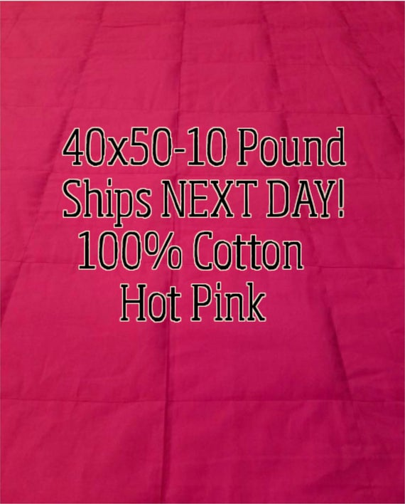 Weighted Blanket, 10 Pound, Hot Pink, 40x50, READY TO SHIP, Twin Size, Adult Weighted Blanket, Next Business Day To Ship